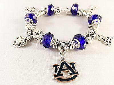 AUBURN UNIVERSITY TIGERS NCAA Licensed Charm Team Bracelet BLUE GLASS BEADS