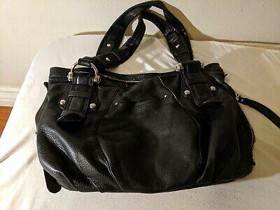 B Makowsky Black Soft Leather Shoulder Bag Handbag  Fringe Tassel Purse Satchel