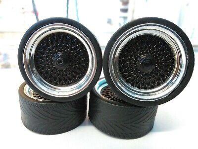 JADA JDM 1/24 SCALE WHEELS & TIRES FOR REPAIRING CARS OR TRUCKS (BLACK WHEEL)