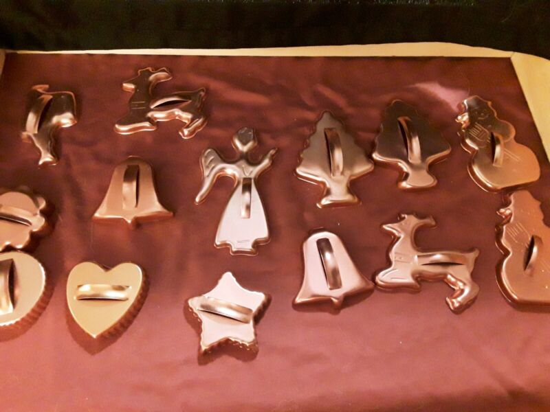 Lot 14 Vtg Copper Colored Aluminum Cookie Cutters WITCH Gingerbread Boy TURKEY +