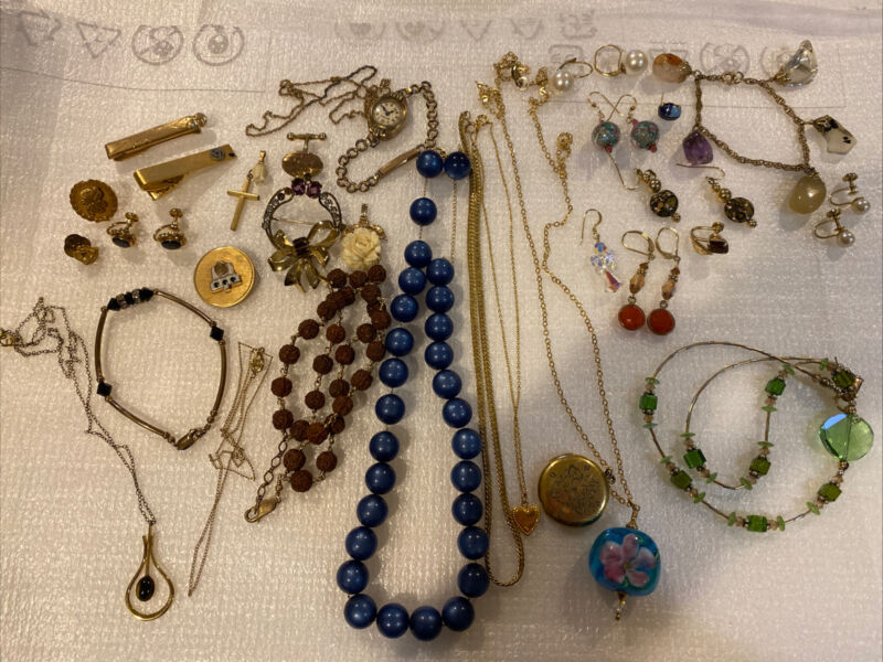 Vintage Gold Filled Lot 192g- Necklaces; Watch; Earrings; Mixed Lot For Scrap