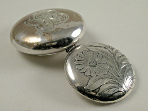 ANTIQUE ART NOUVEAU STERLING SILVER SNUFF, PILL,TRINKET BOX,HINGED LID,c.1870