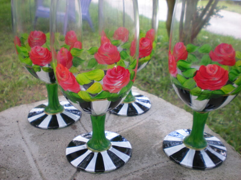 HAND PAINTED HEIRLOOM ROSES ,STRIPES AND GOLD . SET /4 ICE TEA GLASSES