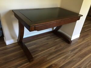 Wood and glass top desk