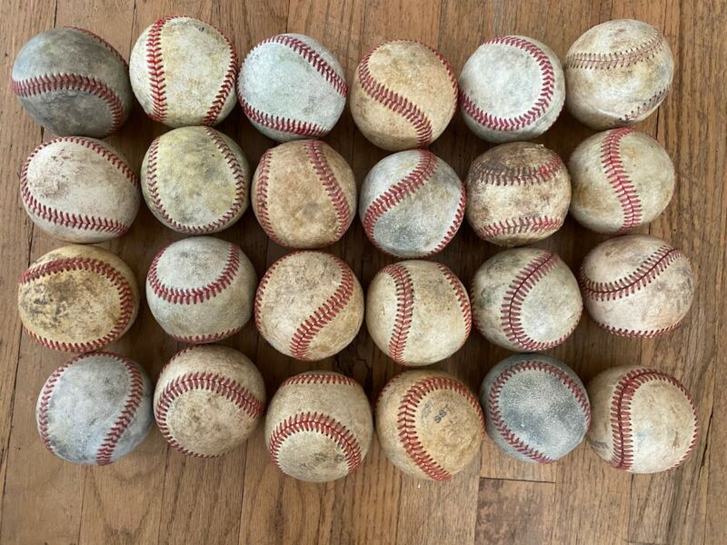 Lot Of 24 Used Baseballs Practice Sports