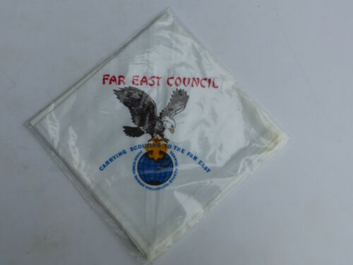 Unused Vintage Far East Council Boy Scout BSA Silkscreened White Neckerchief