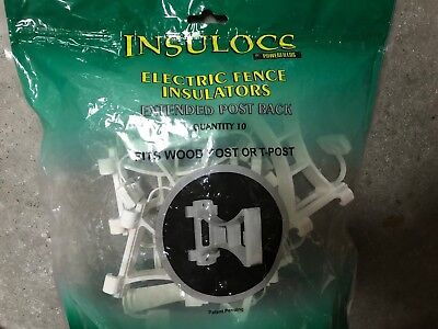 Powerfields Insulocs Electric Fence Insulator Extended Post Back Lot Of 10 Pc