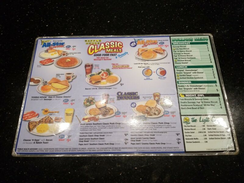 Vintage Waffle House Laminated Menu Placemat Place Setting From 2010