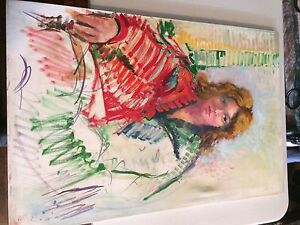 Augusto Corvino Painting of woman in red