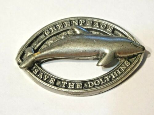 "Vintage GREENPEACE ~ ""Save The Dolphins"" ~ PEWETER LAPEL / JACKET PIN"