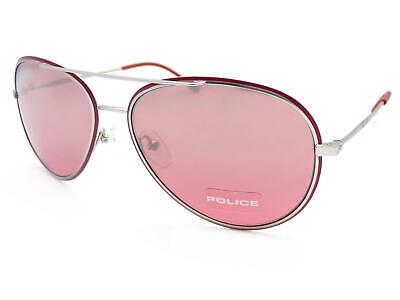 0d5420bfa4 POLICE - GLORY Silver Brick Red Sunglasses  Rose Silver Mirror Lenses S8299  Q05X