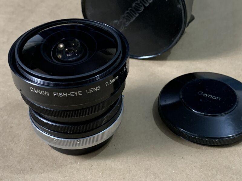 Canon 7.5mm 1:5.6 SSC Fish-eye Lens from JAPAN w/Original Cap + case