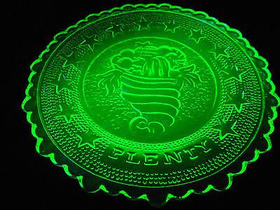 Green Vaseline Horn of Plenty glass plate uranium radioactive canary yellow neon