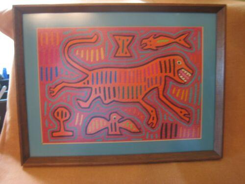 VINTAGE KUNA MOLA Reverse Applique Hand Stitched, Tiger motif Matted & Framed