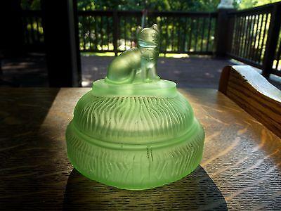 antique Green satin uranium art glass POWDER BOX JAR L E Smith Sitting Felix Cat