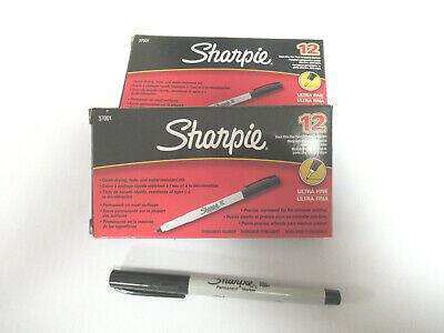 2 Boxes 24 Pens Sharpie Permanent Markers - San37001 Ultra Fine Tip Black