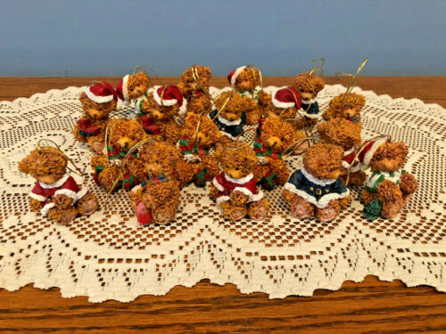 Vintage Lot of 18 Teddy Bear Resin Christmas Tree Ornaments