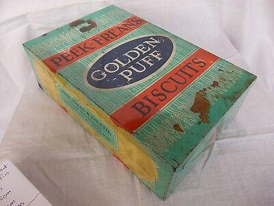 Antique Vintage Old Peek Freans Golden Puff Biscuit Tin England 1940's Advt Sign