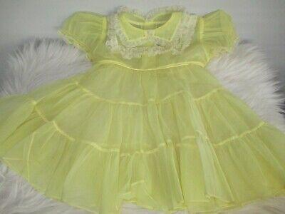 Vintage Infants Barbie Frocks Dress Yellow Sheer 1950's? Lace Trim Baby Girl