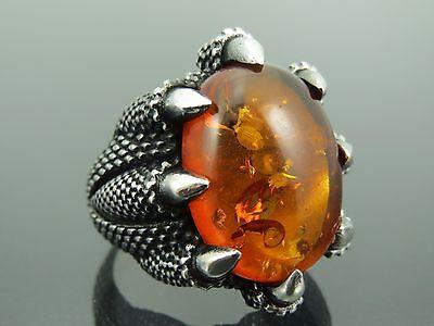 Turkish Handmade Jewelry 925 Sterling Silver Amber Stone Men's Ring Sz 11