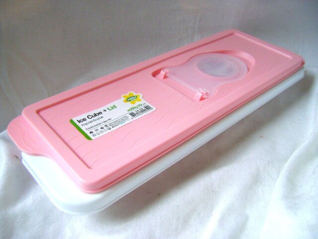 NEW EASY FILL ICE CUBE BOX TRAY WITH LID NO SPILL! PASTEL PINK