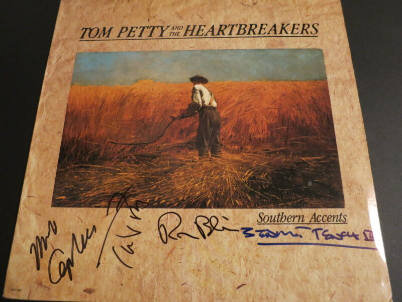 TOM PETTY SIGNED LP BY 4 RARE! PROOF + COA MIKE CAMPBELL RON BLAIR BENMONT TENCH