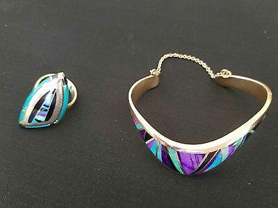 Raoul Sosa Vintage14k Signed Inlay Wave Bracelet and Stealth Ring Set