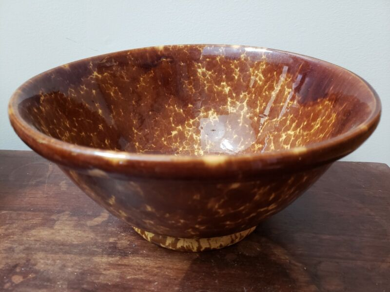 Antique Brown Spongeware Large Serving Bowl