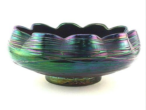 """Loetz or Kralik Art Glass Bowl Blue Iridescent Threaded Ruffled Rim 6.25"""""""