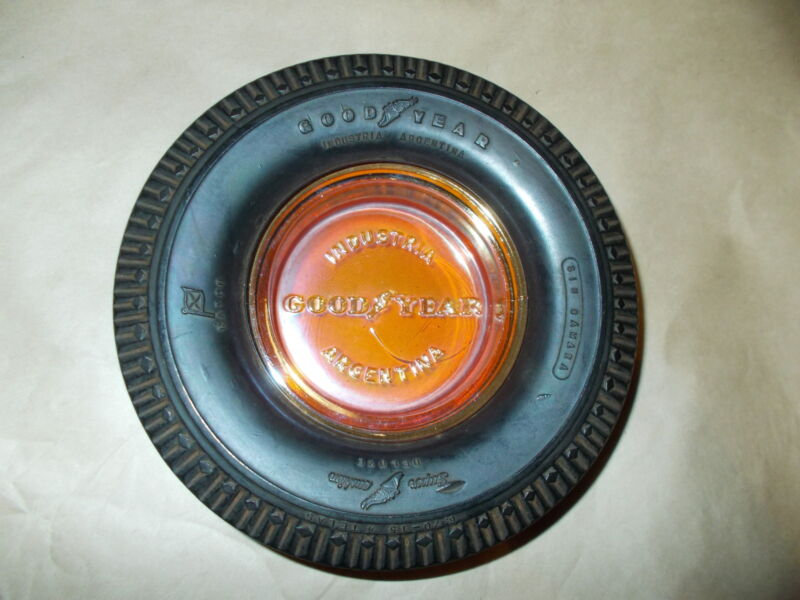 Fine Original Goodyear Super Cushion Carnival Glass Ashtray Mint From Argentina