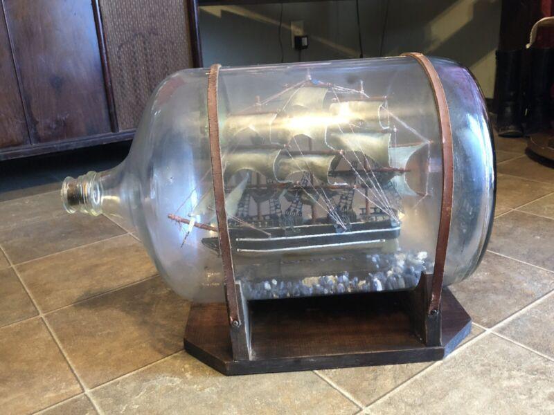 Ship In Bottle Boat Rare Gallon Big Glass Bottle Rare Vintage Decor Nautical