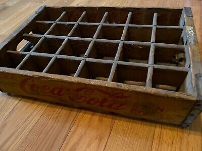 Vintage Wooden Coca Cola 24 Bottle Crate Yellow Paint