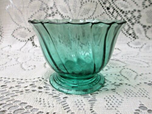 1 Vintage Jeannette Glass Ultramarine Petal Swirl Footed Sherbet -more available