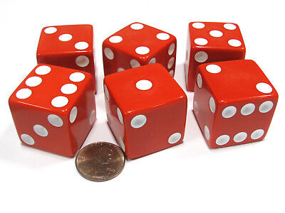Set of 6 D6 25mm Large Opaque Jumbo Dice - Red with White Pip - Jumbo Dice