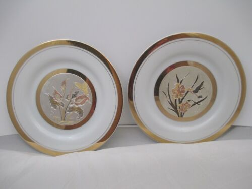 Vintage Art of Chokin Plate lot of 2 with 24k gold edged
