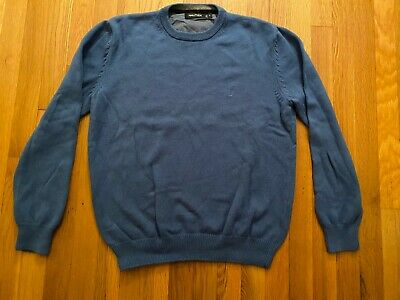 Nautica Mens Blue Crew Neck Sweater 100% Cotton Size M