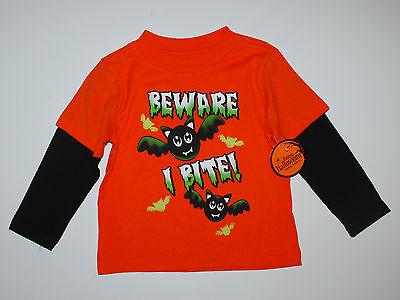 Langarmshirt~USA~Halloween~Gr.80~Halloween~Fledermaus~Spruch~orange~Junge~neu ()