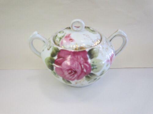 Antique Porcelain Sugar Bowl & Lid with Pink & Red Roses