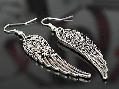 Fashion Womens Rhinestone Angel Wings Earrings Drop Dangle Ear Hook Silver L7