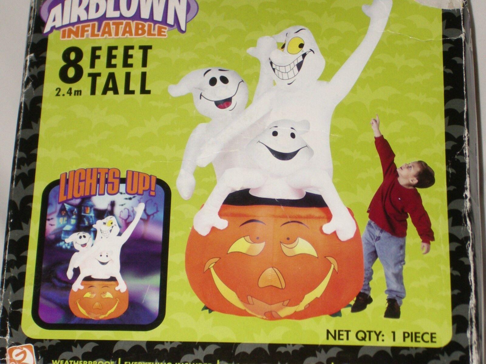 Gemmy 8' Tall Lighted 3-ghosts Pumpkim Halloween Airblown Inflatable Blowup
