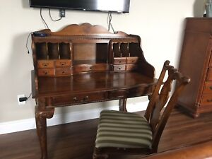 Solid wood desk and chair