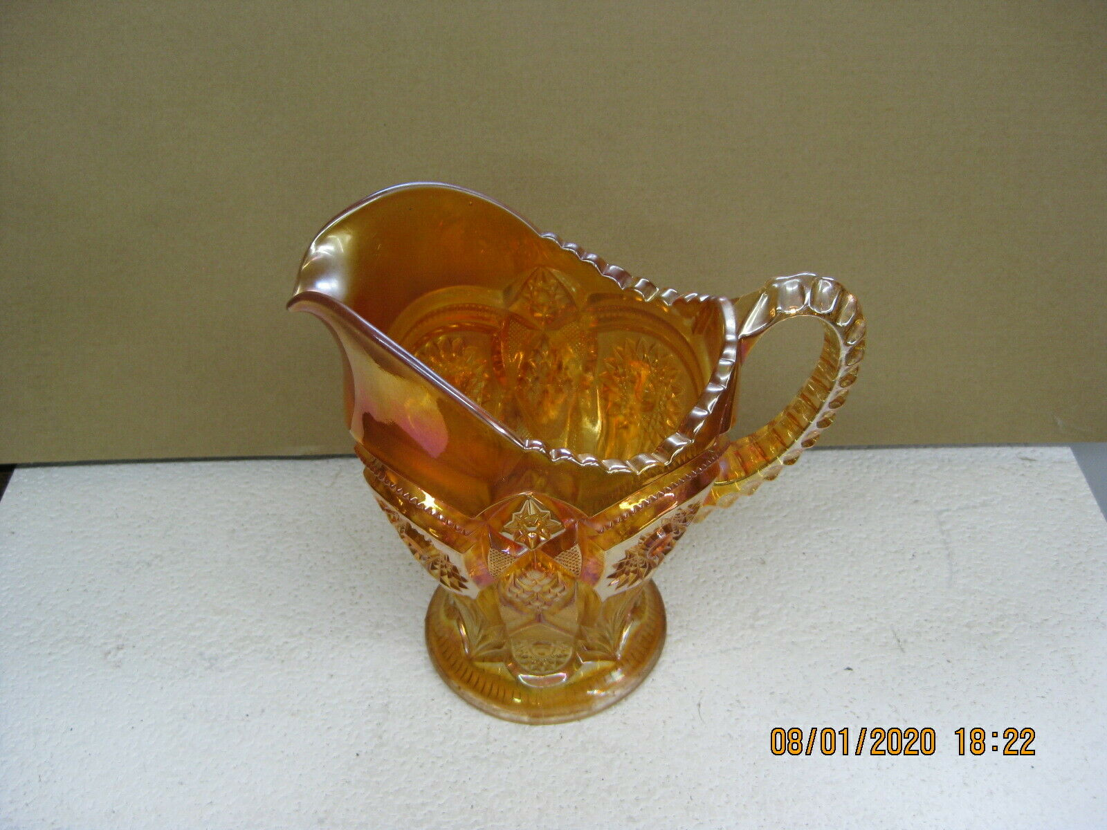 Imperial Carnival Glass Marigold Fashion Water Pitcher - $49.99