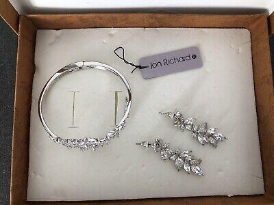 jon richard wedding jewellery set earrings & bracelet