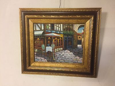 """Painting Oil On Canvas Cafe In Alley.signed """"Zester"""".See8pix4Size/etc.MAKE OFFER"""