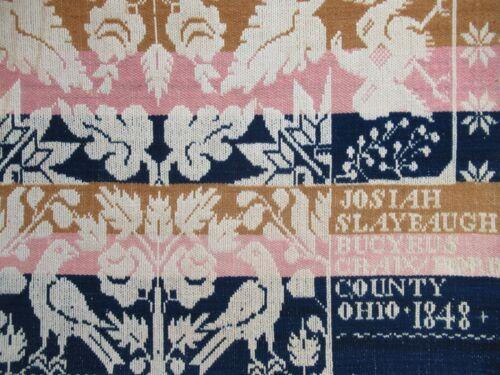 Antique Jacquard Coverlet 1848 Bucyrus Crawford County Ohio Josiah Slaybaugh