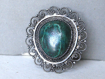 VINTAGE STERLING SILVER JUDAICA MALACHITE FILIGREE PRE ISRAEL STATE PIN PENDANT