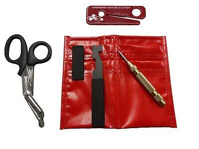 Firefighter Kit - Seatbelt Cutter Shove Knife Window Punch Shears Pouch