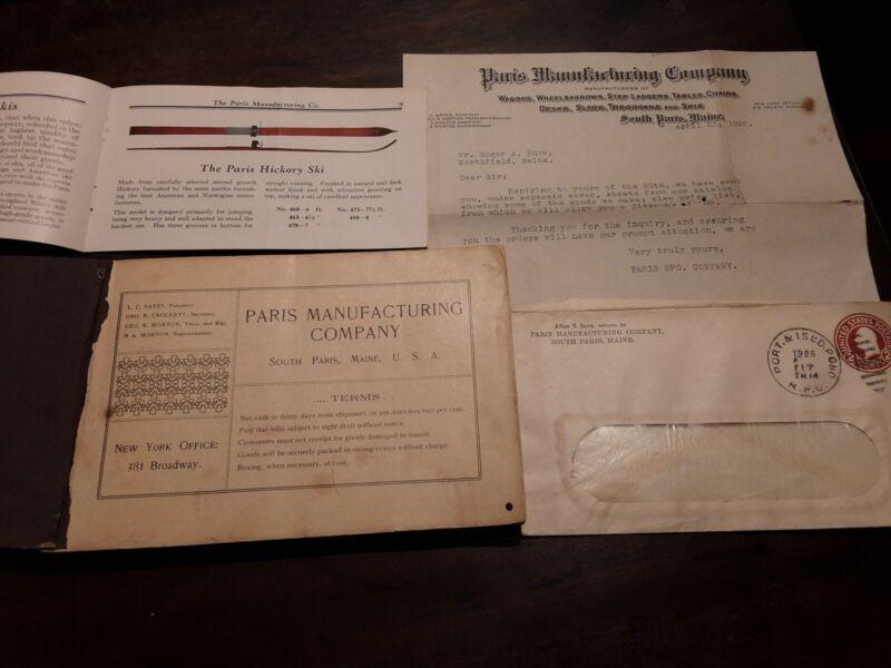 1907 Paris Manufacturing Co Catalog, Letter and Envelope Lot South Paris, MAINE