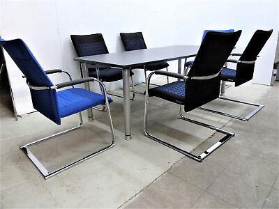 hochwertiger Besprechungstisch 2x1m + 6 Freischwinger Stühle von Dauphin Büro