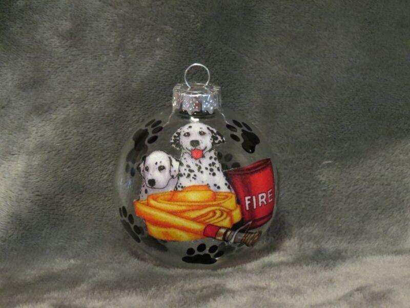 "HAND MADE DALMATIAN FIRE HOUSE FIREFIGHTER DOG 3/"" GLASS CHRISTMAS ORNAMENT//BALL"